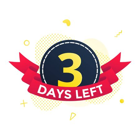 Three days left to go sale countdown ribbon badge icon sign with red ribbon, number ten, abstract elements behind isolated on white background.  イラスト・ベクター素材