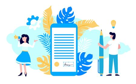 Concept of digital or electronic signature with woman shouting out to megaphone, mobile phone with signature and man with pen flay style design vector illustration. People sign the online contract.