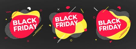 3 Black friday poster or banner design template vector illustration. Sale shopping discount banner for web or store discount clearance concept with simple shapes isolated on dark background. Illustration
