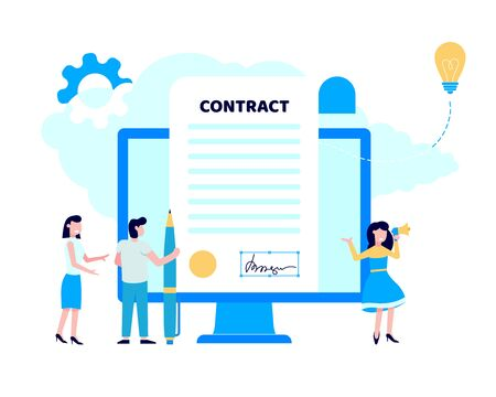 Concept of digital or electronic signature with woman shouting out to megaphone, pc monitor with signature and man with pen flay style design vector illustration. People sign the online contract. 向量圖像