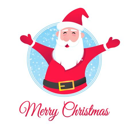 Santa Claus character wishes merry christmas and happy new year to you postcard flat style design vector illustration with text space to fill.