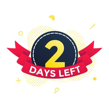 Two days left to go sale countdown ribbon badge icon sign with red ribbon, number ten, abstract elements behind isolated on white background.  イラスト・ベクター素材