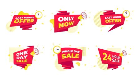 Set of offer sale countdown ribbon counters badges icon sign with big red ribbon, clock or megaphone speaker, abstract elements behind isolated on white background.  イラスト・ベクター素材