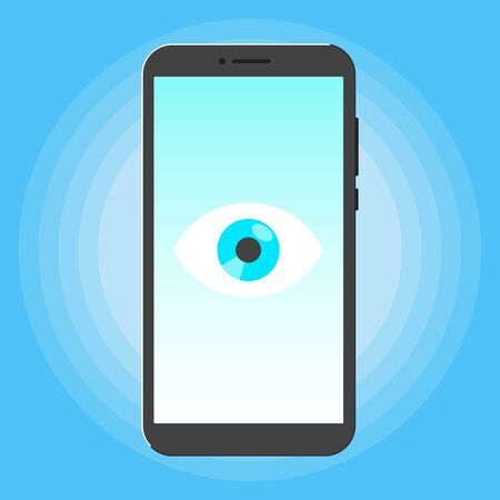 Big brother concept. Smart phone spying with big eye on the screen isolated on light blue background flat style design vector illustration.  イラスト・ベクター素材