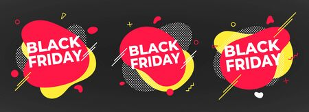 3 Black friday poster or banner design template vector illustration. Sale shopping discount banner for web or store discount clearance concept with simple shapes isolated on dark background.  イラスト・ベクター素材