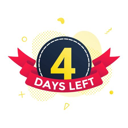 Four days left to go sale countdown ribbon badge icon sign with red ribbon, number ten, abstract elements behind isolated on white background.  イラスト・ベクター素材
