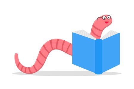 Cartoon style earthworm with book and glasses vector illustration isolated on white background. Funny worm with glasses read a book.