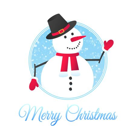 The snowman with hat, gloves, with falling snow flat style design vector illustration. Merry christmas and happy new year symbols postcard with text.