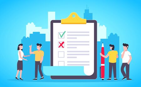Small people standing near big clipboard and filling out check marks and crosses on the document with big pen flat style design vector illustration. Business work and teamwork concept.