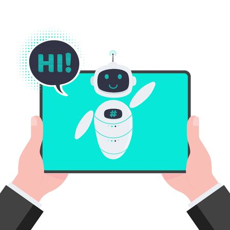 Robot chatbot icon sign flat style design vector illustration isolated on white background. Cute AI bot helper mascot character concept business assistant on the tablet pc monitor say hi.