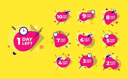 Sale countdown liquid abstract elements ten to one days left signs set vector illustration isolated symbol badge. Business date count with offer timer, limit offer concept.