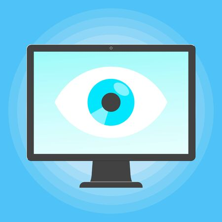 Big brother concept. Smart phone spying with big eye on the screen of PC monitor isolated on light blue background flat style design vector illustration.  イラスト・ベクター素材