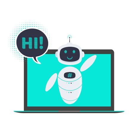 Robot chatbot icon sign flat style design vector illustration isolated on white background. Cute AI bot helper mascot character concept business assistant on the laptop notebook pc monitor.