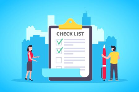 Small people standing near big clipboard and filling out check marks on the document with big pen flat style design vector illustration. Business work and teamwork concept.