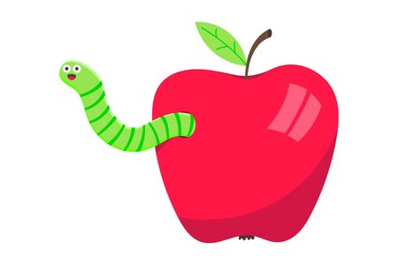 Worm with apple cartoon character icon sigh. Worm with face expression smilling pop up above the apple flat style design vector illustration. Crawling animal creature.