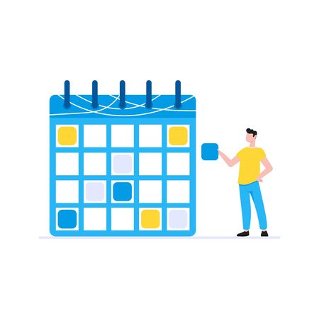 Planning time management business concept. Man standing near calendar planner with plan sticker. Business people character, flat style clipart for web infographic banners isolated on white background.  イラスト・ベクター素材
