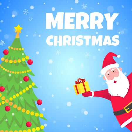 Santa Claus, christmas tree fir flat style design icon sign vector illustration greeting postcard. Symbol of xmas holiday celebration isolated on snow background with text.