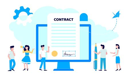 Concept of digital or electronic signature with woman shouting out to megaphone, pc monitor with signature and man with pen flay style design vector illustration. People sign the online contract.  イラスト・ベクター素材