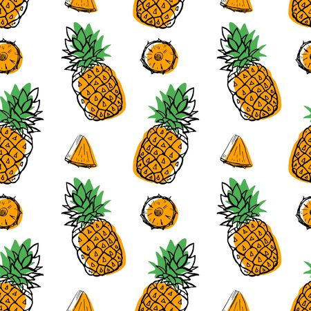 Seamless hand drawn pineapple fruit pattern, berry with color shapes vector illustration isolated on white background. Whole, parts, leaves sketch style collection. Fresh and tasty!