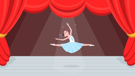 Open red curtains theater or ballet dance scene with price, curtains, scenery and young beautiful ballerina dressed in tutu and point shoes standing at the pose flat style design vector illustration.  イラスト・ベクター素材
