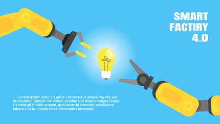Two robotic arms with lightbulb - idea flat style design vector illustration icon signs signs isolated on light blue background. Robot arms or hands. Industrial robot manipulator. Modern smart industr
