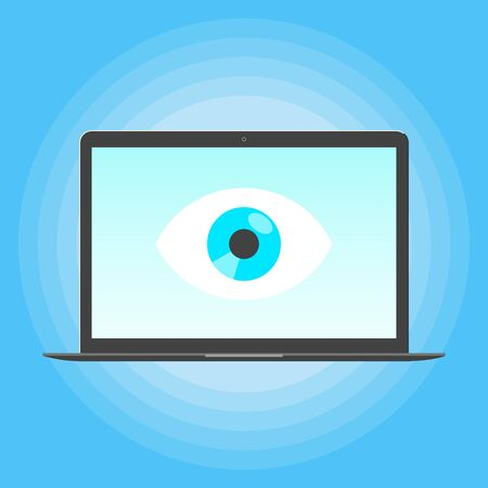 Big brother concept. Laptop spying with big eye on the screen of notebook monitor isolated on light blue background flat style design vector illustration.  イラスト・ベクター素材