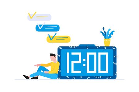 Effective planning time management business concept. Man sitting near clock and resting after work. Business people character, flat style clipart for infographic banners isolated on white background.  イラスト・ベクター素材