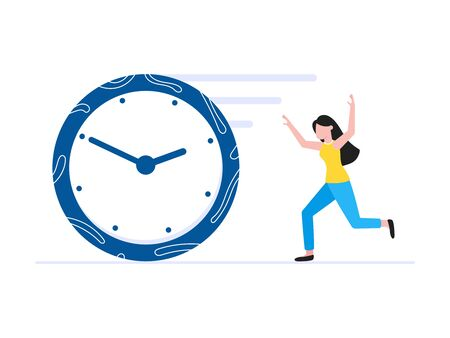 Time management business concept template. Woman running after clock deadline concept. Business people character, flat style clipart for web infographic banners isolated on white background.