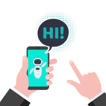 Robot chatbot icon sign flat style design vector illustration isolated on white background. Cute AI bot helper mascot character concept business assistant on the mobile smart phone monitor say hi.