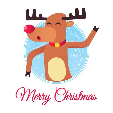 The red nosed christmas reindeer dancing and wishes merry christmas flat style design vector illustration with text space