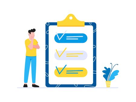 Effective Planning time management business concept. Man standing near clipboard with tick V check marks. Business people character, flat style clipart for web banners isolated on white background.