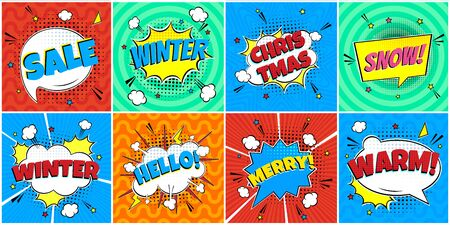 8 Comic Winter Lettering In The Speech Bubbles Comic Style Flat Design. Dynamic Pop Art Vector Illustration Isolated On Rays Background. Exclamation Concept Of Comic Book Style Pop Art Voice Phrases.