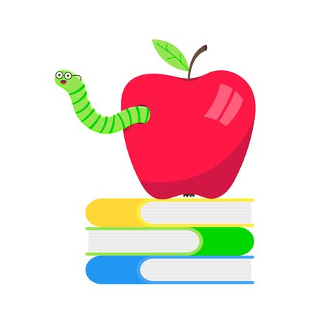 Worm with apple cartoon character icon sigh. Worm with face expression smilling pop up above the apple standing on the books flat style design vector illustration. Crawling animal creature.  イラスト・ベクター素材