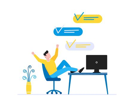 Effective time management business concept. Man sitting on the chair and resting. Business people character, flat style clipart for web banners isolated on white background.