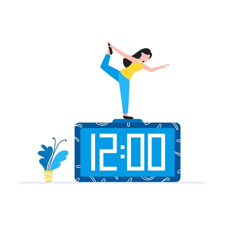 Young woman standing in yoga pose on the clock. Time management balance business concept flat style design vector illustration isolated on white background. Stock Illustratie