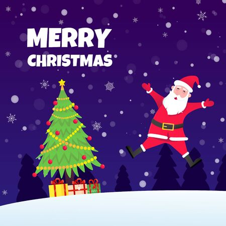 Jumping Santa Claus, christmas tree fir flat style design icon sign vector illustration greeting postcard. Symbol of xmas holiday celebration isolated on dark snow background with pile of gifts.