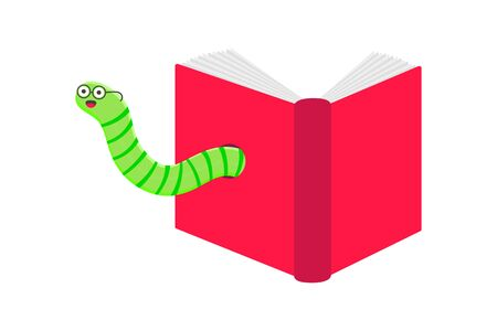 Worm with book cartoon character icon sigh. Worm with face expression smilling pop up above the book flat style design vector illustration. Crawling animal creature.  イラスト・ベクター素材