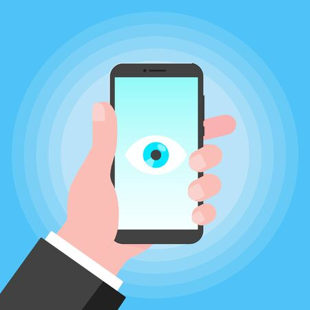 Big brother concept. Hand holding smart phone spying with big eye on the screen isolated on light blue background flat style design vector illustration.