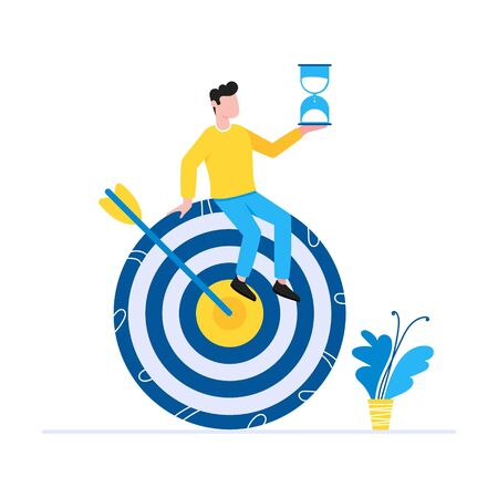 Effective goal achievement time management business concept. Man sitting on the target symbol with arrow and holding hourglass. Business people character for web banners isolated on white background.  イラスト・ベクター素材