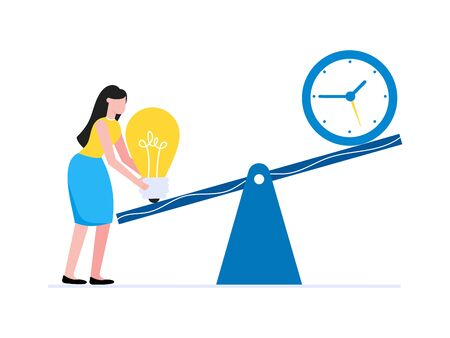 Young woman standing with swings balanced time and idea symbols - lightbulb and clock. Time management balance business concept flat style design vector illustration isolated on white background.  イラスト・ベクター素材