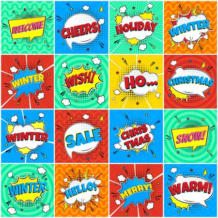 16 Comic Winter Lettering In The Speech Bubbles Comic Style Flat Design. Dynamic Pop Art Vector Illustration Isolated On Rays Background. Exclamation Concept Of Comic Book Style Pop Art Voice Phrases.
