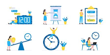 6 Effective Planning time management business concept set. Business people characters, flat style clipart for web banners isolated on white background with time symbols business elements.