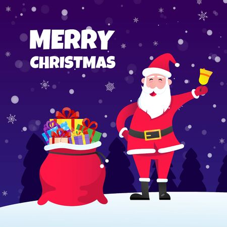Santa Claus, bag of gifts flat style design icon sign vector illustration greeting postcard. Symbol of xmas holiday celebration isolated on dark snow background with pile of gifts.  イラスト・ベクター素材