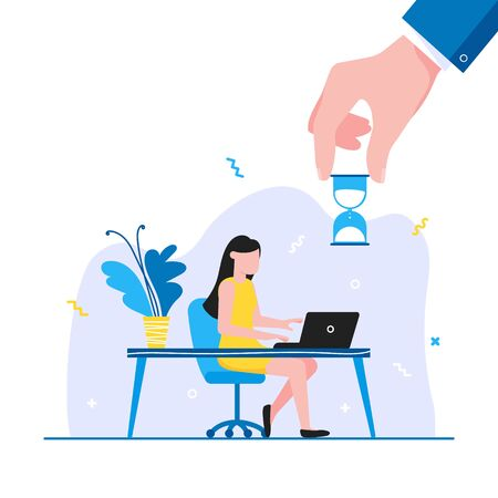 Time management business concept template. Woman sitting near the table and working on laptop. Business people character, flat style clipart for web infographic banners isolated on white background.  イラスト・ベクター素材