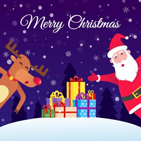 Santa Claus and the red nosed christmas reindeer and wish a merry christmas and happy new year to you postcard flat style design vector illustration. Pile of gifts behind.  イラスト・ベクター素材