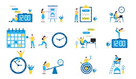 12 Effective Planning time management business concept set. Business people characters, flat style clipart for web banners isolated on white background with time symbols business elements.