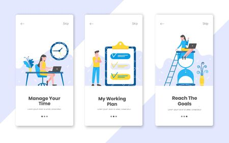 3 vertical time management banners set with work time planning flat style design vector illustration. Tiny people working at the workplace with hourglass, clipboard and notebook.