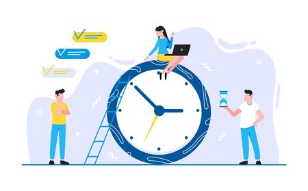 Tiny people characters working together teamwork and time management concept flat style design vector illustration isolated white background. Archivio Fotografico - 133584586