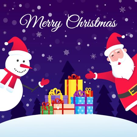 Santa Claus and snowman flat style design vector illustration postcard. Symbol of xmas holiday celebration isolated on bright snow background wish you a merry christmas and happy new year.