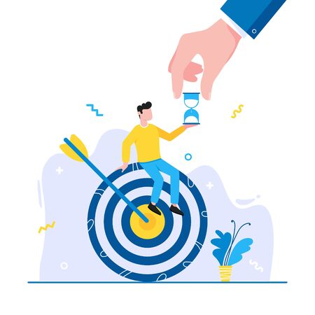 Effective goal achievement time management business concept. Man sitting on the target symbol with arrow and holding hourglass. Business people character for web banners isolated on white background. Çizim